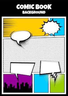 Popart strips boek tijdschrift voorbladsjabloon cartoon grappige komische superheld tekst tekstballon