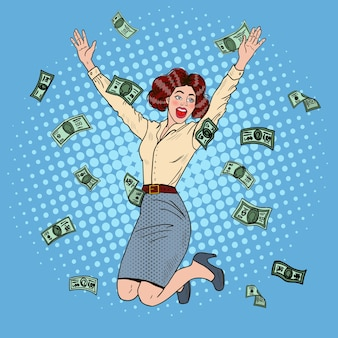 Popart succesvolle springen zakenvrouw vieren in geld vallen.