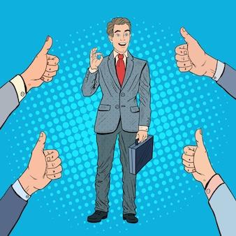 Popart succesvolle zakenman gebaren ok. teamwerk.