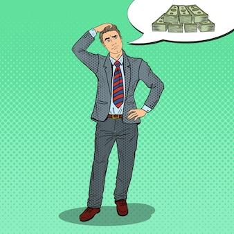 Popart twijfelachtige zakenman droomt van geld.