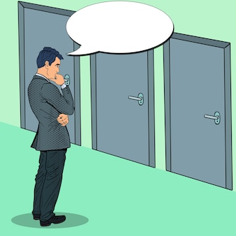 Popart twijfelachtige zakenman kiezen van de juiste deur.