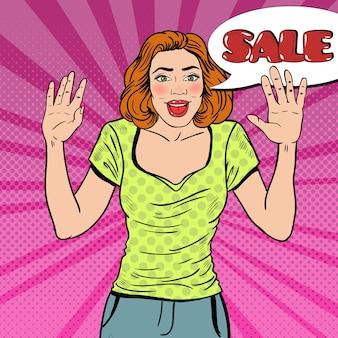 Popart verrast vrouw met komische tekstballon verkoop. illustratie