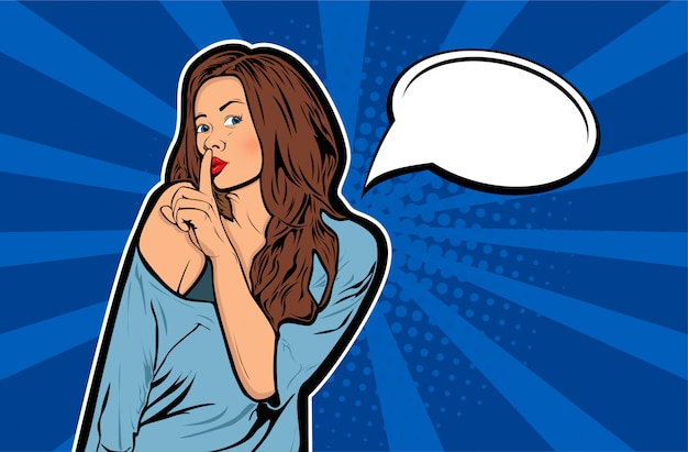 Popart vrouw met vinger op lippen, stilte gebaar met tekstballon
