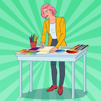Popart vrouwelijke afbeelding er met werkinstrumenten. creatief illustrator-concept.