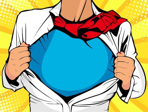 Popart vrouwelijke superheld toont t-shirt