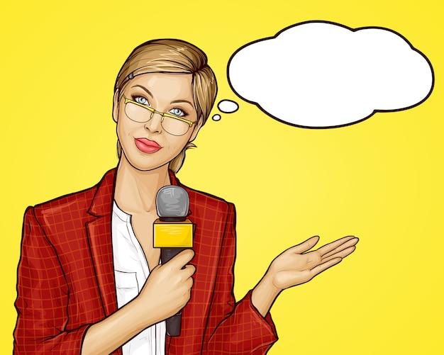Popart vrouwelijke tv-verslaggever zendt live uit