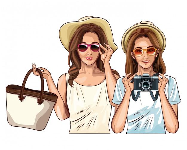 Popart vrouwen vrienden lachend cartoon
