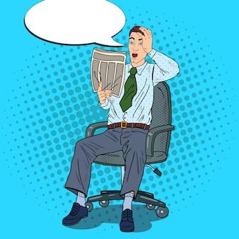 Popart zakenman krant lezen en pakte zijn hoofd