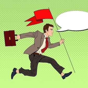 Popart zakenman loopt met rode vlag naar succes.
