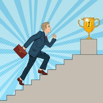 Popart zakenman trap oplopen naar gouden beker.