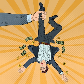 Popart zakenman verliest zijn laatste geld. faillissement concept. illustratie