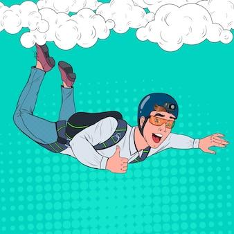 Popart zakenman vliegen met parachute