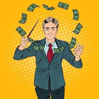Popart zakenman voert geld met een stok.