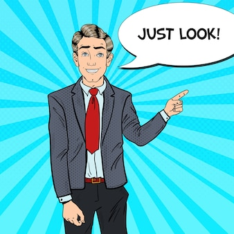 Popart zakenman wijzende vinger op kopie ruimte. zakelijke presentatie.