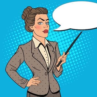 Popart zakenvrouw met aanwijzer stick.