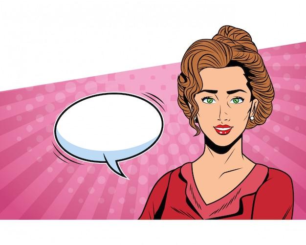 Popart zakenvrouw met tekstballon