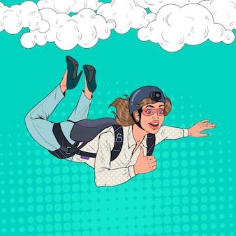 Popart zakenvrouw vliegen met parachute