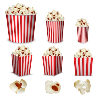 Popcorn bioscoopdoos mockup set