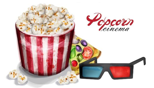 Popcorn en bioscoopglazen aquarel