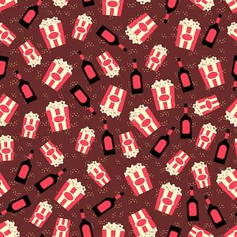 Popcorn en karamel topping naadloze patroon
