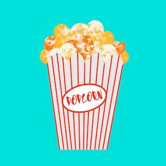 Popcorn in een papieren doos. vector illustratie.