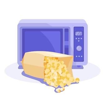 Popcorn in een zak voor de magnetron. platte vectorillustratie. witte achtergrond.