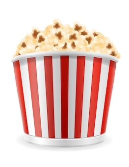 Popcorn in gestreepte kartonnen pakketillustratie geïsoleerd op wit