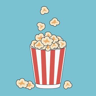 Popcorn in papieren bekerprint. vector illustratie.