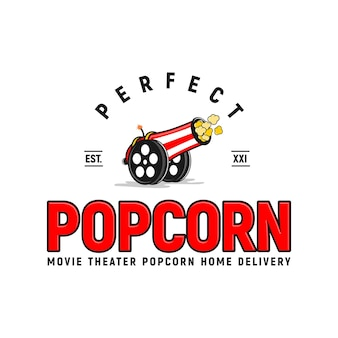 Popcorn inspiratie logo-ontwerp canon movie corn uniek