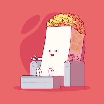 Popcorn kijken naar filmillustratie. film, technologie, ontspanning, voedselontwerpconcept.