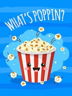 Popcorn poster leuke emmer popcorn met grappig lachend gezicht tv film bioscoop print met snacks