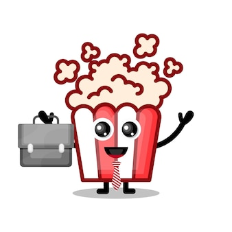 Popcorn werkt schattige karaktermascotte