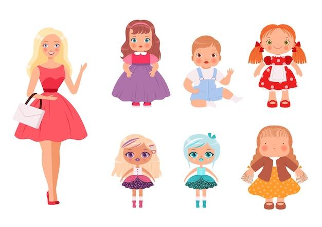 Poppen voor kinderen. grappige kinderspeelgoed mannelijke en vrouwelijke schattige modellen voor het spelen van vectorillustraties. poppencollectie vrouwelijk meisje voor jonge kinderen