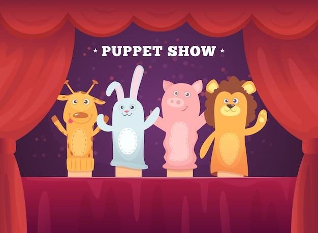 Poppenshow. rode gordijnen theatervoorstelling voor kinderen podium met sokken speelgoed voor handen cartoon