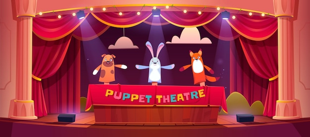 Poppenspel op theaterpodium met rode gordijnen en schijnwerpers.