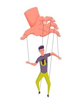 Poppenspeler hand controlerende marionet. zakenman of werknemer wordt bestuurd door poppenspeler. hij manipuleert een man als een marionet. uitbuiting door werkgeversdominantie of autoriteitsmanipulator