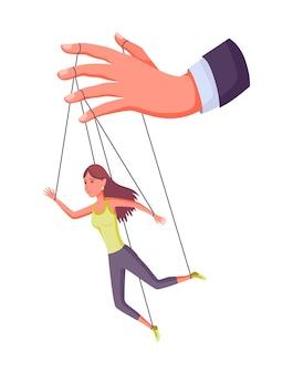 Poppenspeler hand controlerende marionet. zakenvrouw of werknemer wordt bestuurd door poppenspeler. hij manipuleert een vrouw als een marionet. uitbuiting door werkgeversdominantie of autoriteitsmanipulator