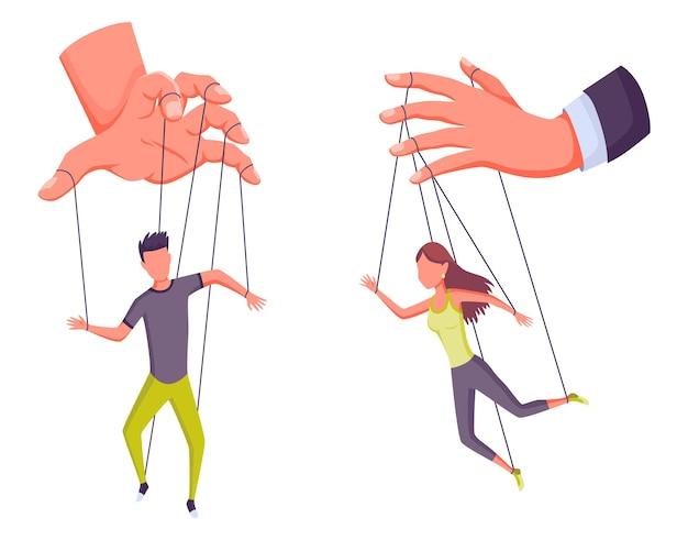 Poppenspeler handen controlerende poppen, manipulator concept. arbeider wordt bestuurd door poppenspeler. manipuleerde mensen als een marionet. uitbuiting door werkgeversdominantie of autoriteitsmanipulator