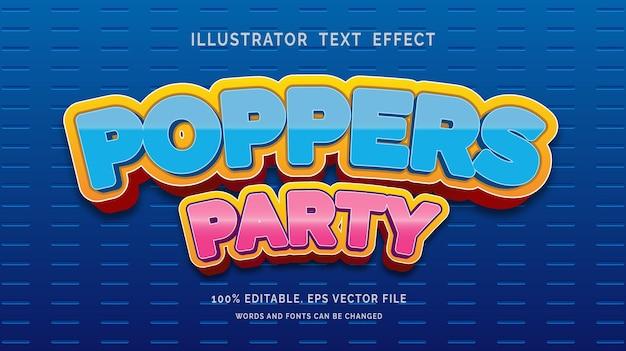 Poppers party bewerkbare teksteffectstijl