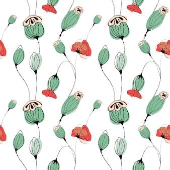 Poppy capsule naadloze patroon