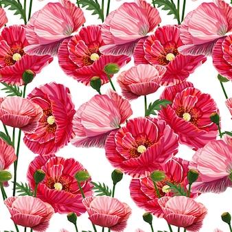 Poppy naadloze bloemenpatroon