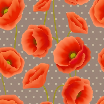 Poppy naadloze patroon