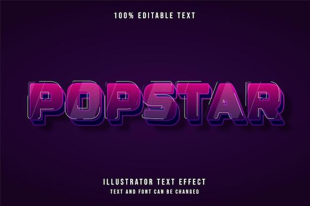 Popstar, 3d bewerkbaar teksteffect roze gradatie paars schattig schaduwstijleffect