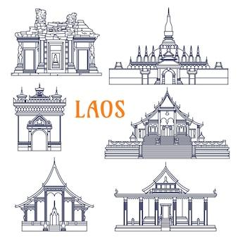 Populair laotiaans monument met poort van triumph patuxai en pha that luang