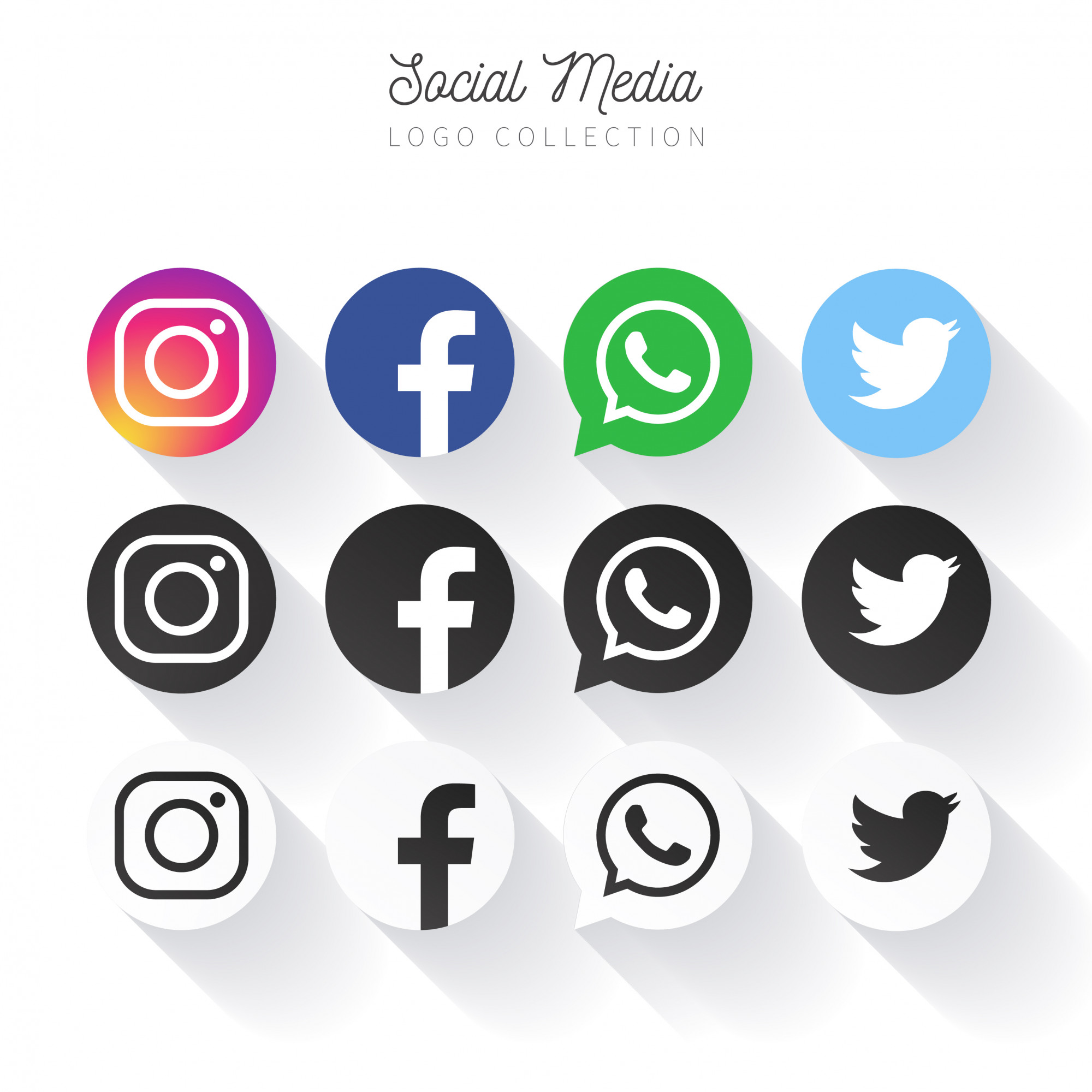 Populair Social Media Logo Collection in cirkels