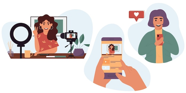 Populaire blogger die online streamtblogger die haar vaardigheden demonstreert via internet