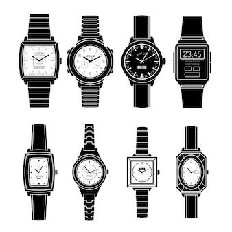 Populaire horloges stijlen zwarte pictogrammen instellen