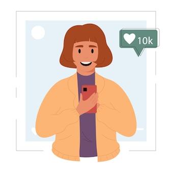 Populaire mediablogger deelt een bericht en bekijkt sociale netwerkeninvloed op de marketing van een nieuw bericht