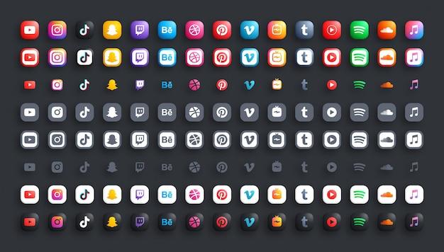 Populaire sociale media netwerk online video en muziek 3d-kleur