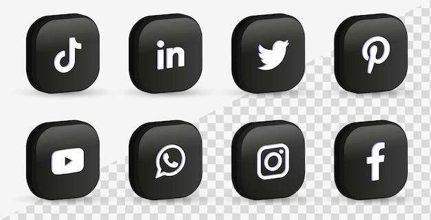 Populaire sociale-mediapictogrammen in 3d-zwarte knoppen of logo's van netwerkplatforms